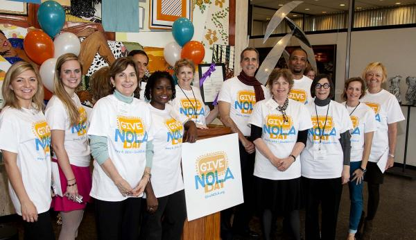 The Greater New Orleans Foundation staff sporting their new GiveNOLA tee-shirts. Look for them all over town on May 6.