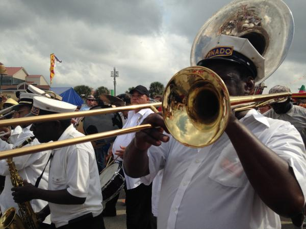 Jazzfest Second Line: Tornado Brass Band with Young Men Olympia Aid, New Look, and First Division SAPC