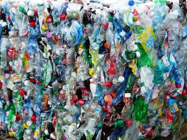 Plastic bottles doing what they do when they get recycled.