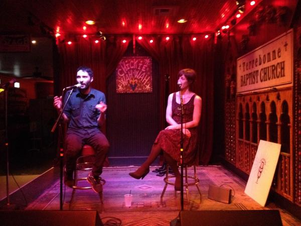 Guest David Weinberg and host Eve Troeh on the Chickie Wah Wah stage at last month's Speakeasy.