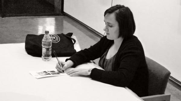 Sarah Vowell signing books after a lecture at Lamar Univ. in Beaumont, Texas