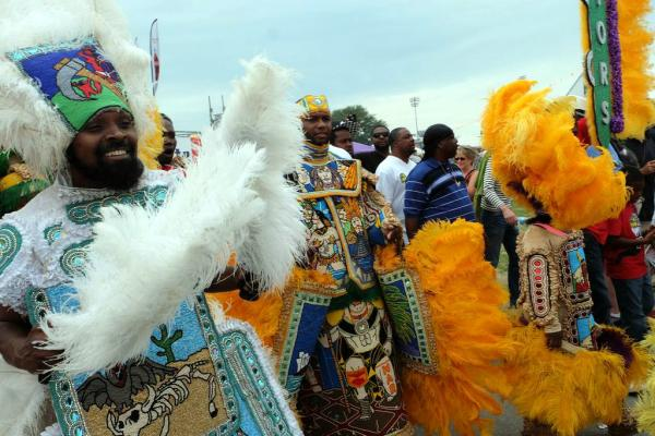 Mardi Gras Indians at the Jazz Fest on Friday afternoon.