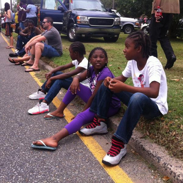 Kids waiting for the Original Big 7 Social Aid and Pleasure Club Mother's Day second line.