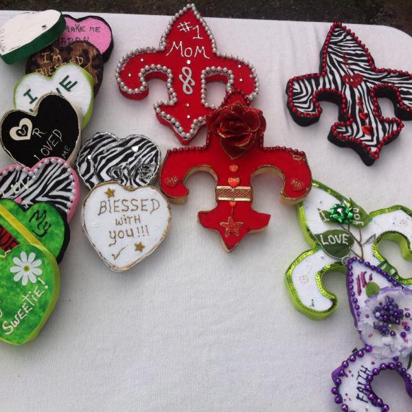 Table of decorations on Elysian Fields during the Original Big 7 Social Aid and Pleasure Club Mother's Day second line.