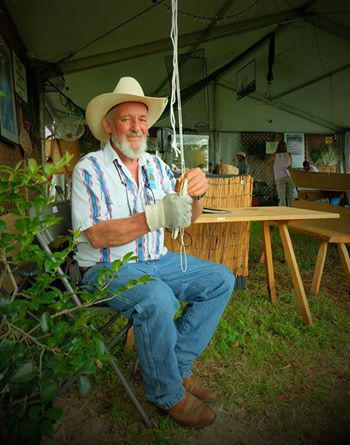 Kernis Huval, a fisherman from St. Landry Parish, demonstrating traditional net-tying.