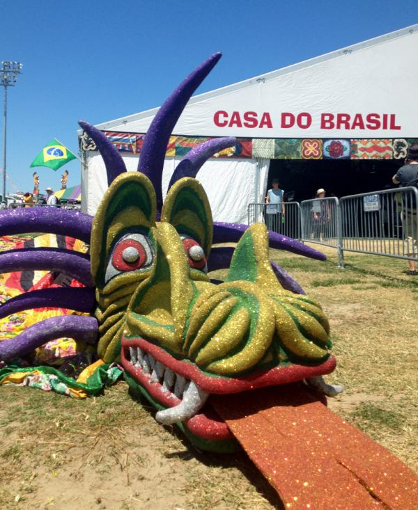 A giant dragon outside the Casa do Brasil cultural heritage tent.