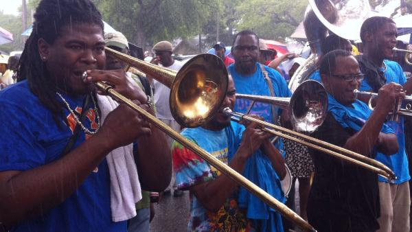 Brass band at the Original Big 7 Social Aid and Pleasure Club Mother's Day second line.