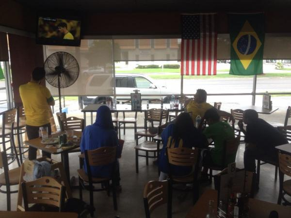 Brazilian fans watch the World Cup at Churra's Brazilian Grill in Kenner.