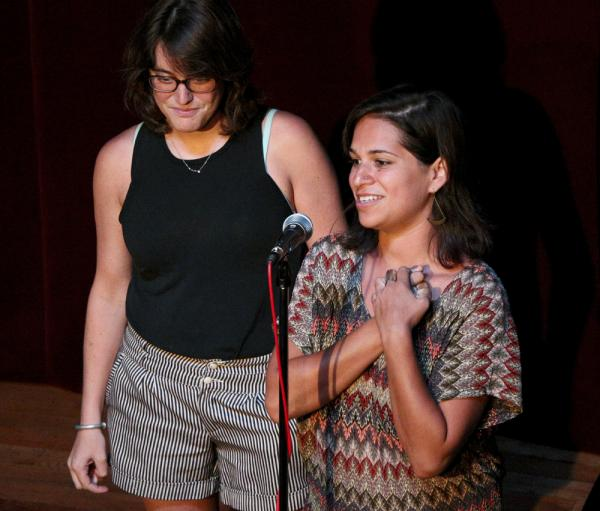 Producers Laine Kaplan-Levenson and Mallory Falk, the driving force behind the monthly series, take a moment each time to welcome the audience (and potential storytellers).