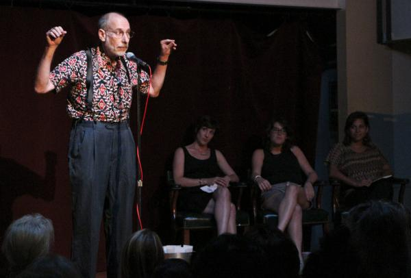 John Menszer, a frequent storyteller, regaled the crowd with a tale of taking the wheel of his dad's car.