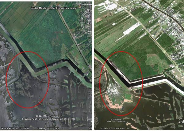 A composite of two Google Earth images of Golden Meadow Marsh, the left from 2010, the right from 2014. Restoration work was done in those four years to help rebuild the marsh.