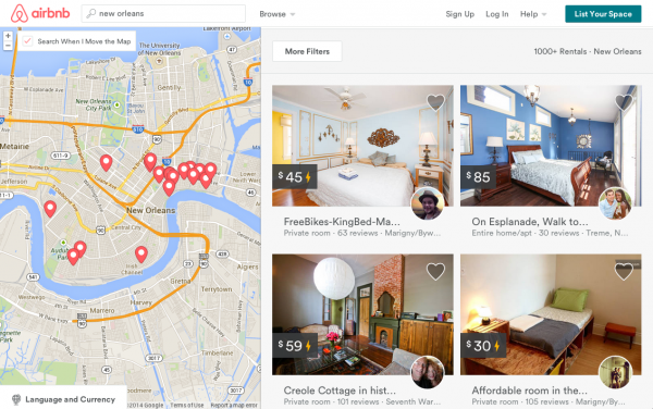 A screenshot of the Airbnb website shows over a thousand available short-term rentals in New Orleans, which are illegal under current city law.