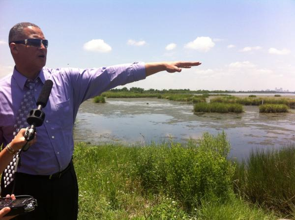 Austin Badon overlooking the wetlands on Paris Road in New Orleans East