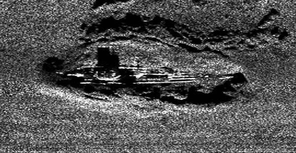 A side-scan sonar image of the German U-boat U-166 in 2001, on the Gulf floor approximately 50 miles southeast of New Orleans.