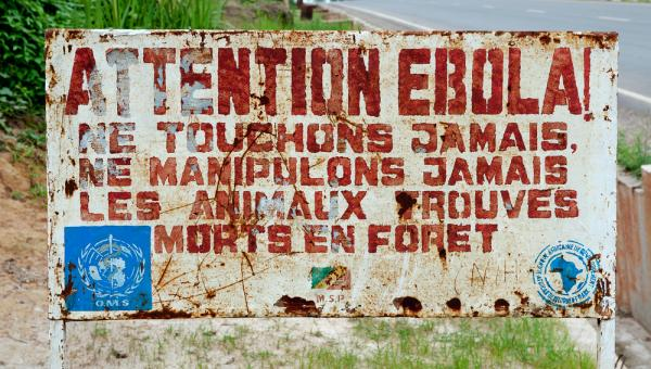 Signage in the Congo informing visitors of an Ebola infected area, September 2013.