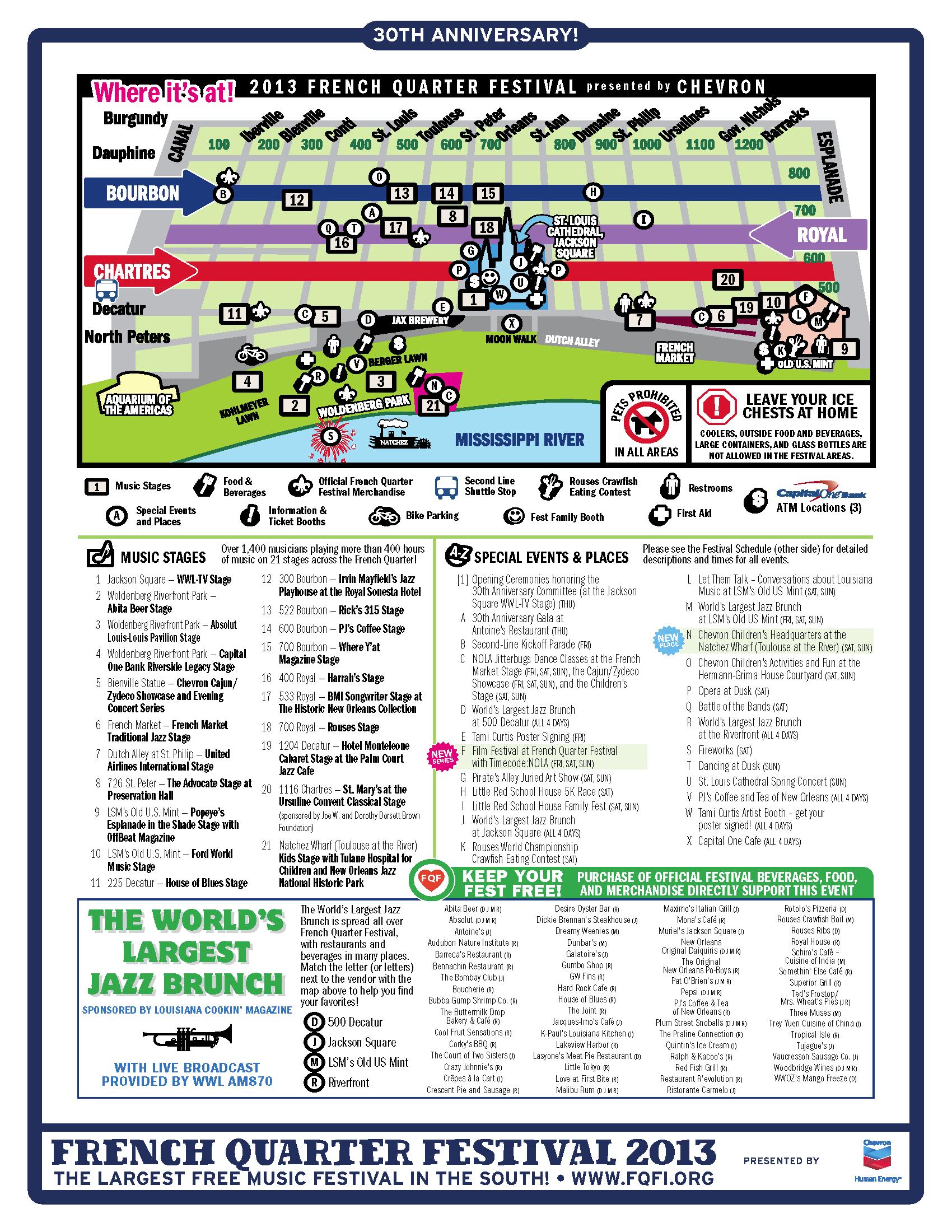 2013 French Quarter Festival Map WWNO