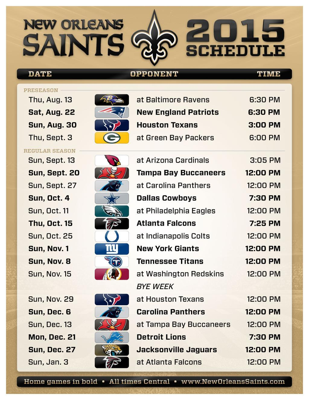 new orleans saints 2015 schedule | wwno