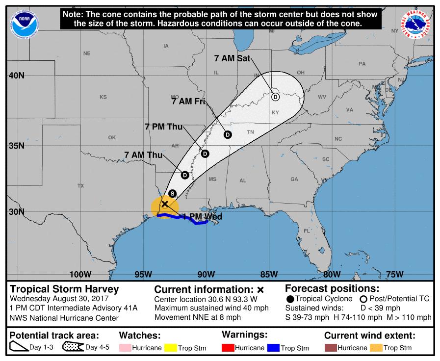 Harvey Louisiana Map.Louisiana Turns Attention Toward Helping Texas As Harvey Weakens