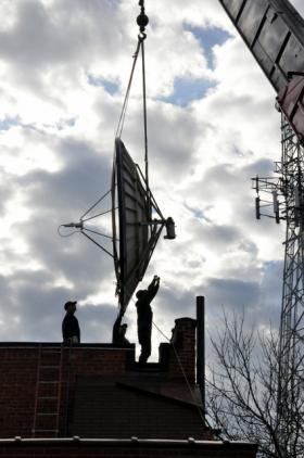 Moving WXPR's satellite dish to 28 North Stevens Street