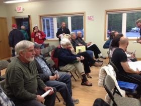 The public meeting at the Cloverland town hall drew about two dozen people.