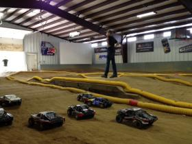 Cars ready at the starting line at the RC Havok Raceway.