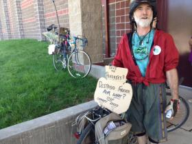 Michael McKenna biked with six others from Ashland for the public hearing.