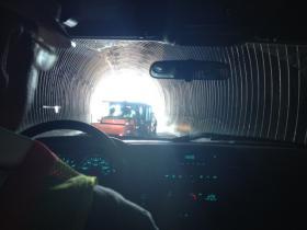 Mine Superintendent John Mason drives out of Eagle Mine.