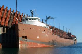 Iron pellets from Empire and Tilden mines is sent to the Marquette Ore Docks on Lake Superior.