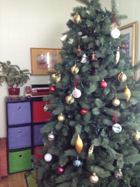 Residents decorated Frederick Place's indoor Christmas tree.