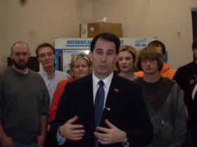 Gov. Walker last week at Nicolet College in Rhinelander