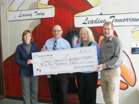 WPS and Focus on Energy presented Crandon Schools with a substantial check Monday.