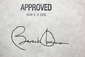 The President's signature on the Patient Protection and Affordable Care Act