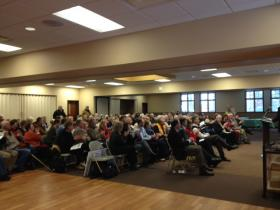 More than 200 people packed the hall inside the new community center.