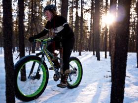 Winter biking in the woods