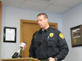 Police Chief Michael Steffes talking to the media.