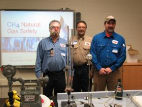 WPS natural gas school safety presenters Eric Berg(l), Tom Gryskiewicz, and Jeff Schaal(r).