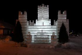 Eagle River's 25-foot ice castle is complete.