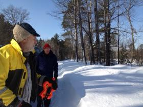 Tim Meinke and Carl Watras prepare to visit a groundwater monitoring well near the UW Trout Lake Station.