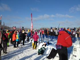 Skiers crowd the starting line at the 41st American Birkebeiner.
