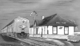 """A print by Dick Bonkoski called """"Farewell to The Fisherman.""""  C&NW train No. 228, a special from Chicago in the 1930s, was called The Fisherman."""