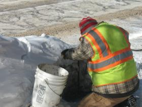 Rhinelander utility worker recently thawing pipes along Stevens St.
