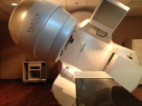 The TrueBeam Linear Accelerator can rotate to provide more accurate radiation therapy.
