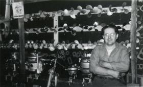 Duke Montgomery repaired and collected motors in his Boom Lake shop.