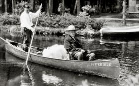 President Calvin Coolidge, accompanied by his guide, John LaRock, frequently fished for trout on the Brule River during the summer of 1928.