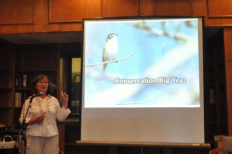 Laura Erickson presenting her Conservation Big Year to WXPR members.