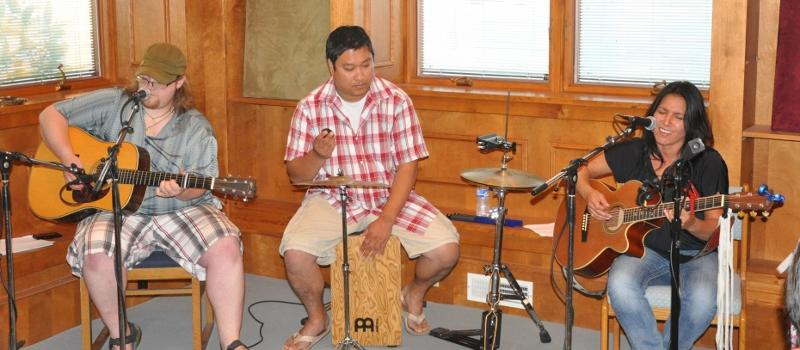 From left, Scott Kirby, Ben Gadzalinski, and Kelly Jackson, Live from the White Pine at the WXPR studios.