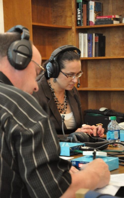 Ken Krall, WXPR News Director (L) and Joni Theobald, Education and Work Force Director for the Lac du Flambeau Tribe