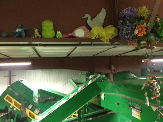 A shelf displays some of the strange objects that come through the recycling line.