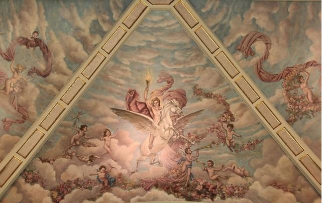 Restoration efforts helped bring to life the mural and other interior features of the building.