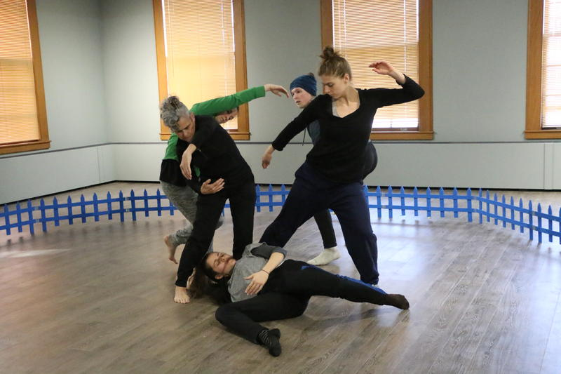 Equus Projects artist director JoAnna Mendl Shaw with dancers Debbie Maciel, Raymond Hinds, Kat Reese, and Maddie Warriner rehearsing at ArtStart in Rhinelander.